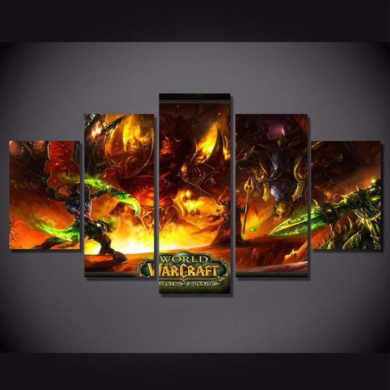5Piece World Of Warcraft Canvas Painting Game Poster Wall Pictures