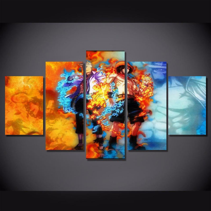 5 Piece Anime Prints Wall Painting Canvas Poster One Piece Home Decor