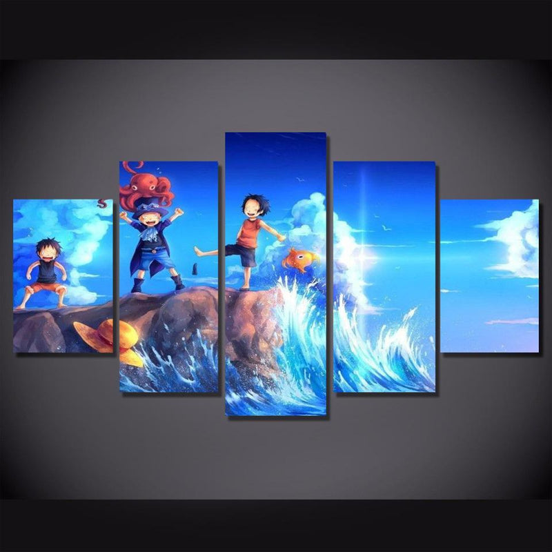 5 Piece Anime Poster One Piece Painting Wall Prints Canvas Picture Home Decor