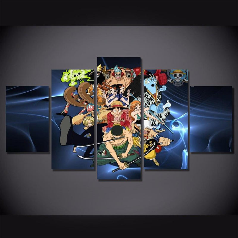 5 Piece Anime Painting Wall Pictures Prints One Piece Poster Canvas Art