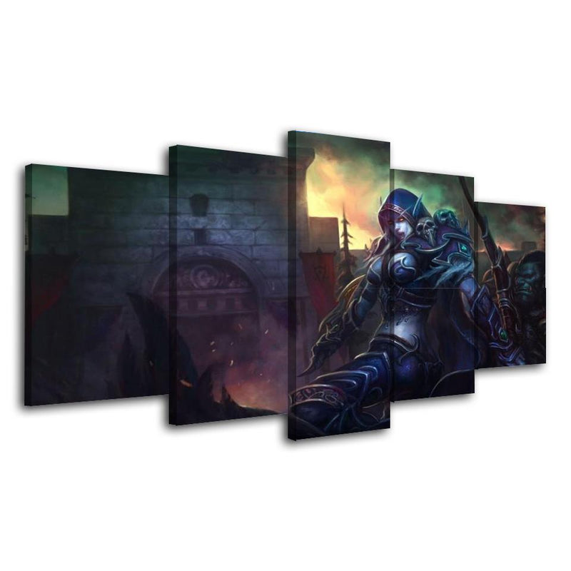 5Piece Game Wall Art Painting World Of Warcraft Canvas Poster Prints
