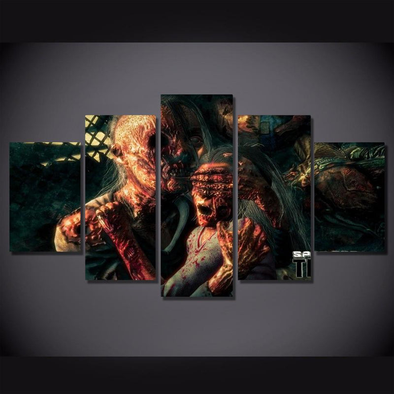 5Piece Game Wall Art Poster Zombie Prints Painting