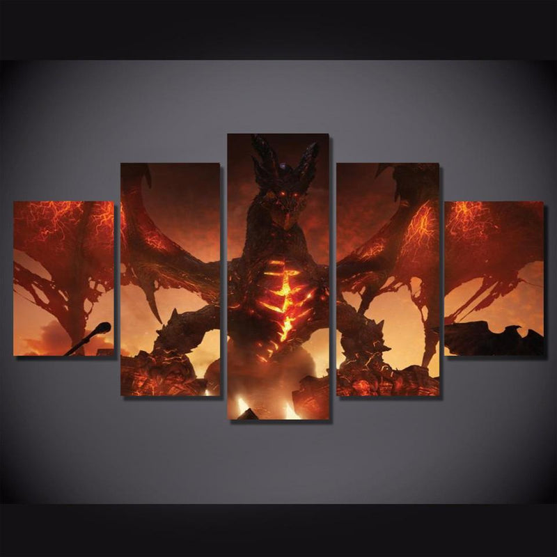 5Piece World Of Warcraft Wall Art Painting Game Canvas Poster Prints