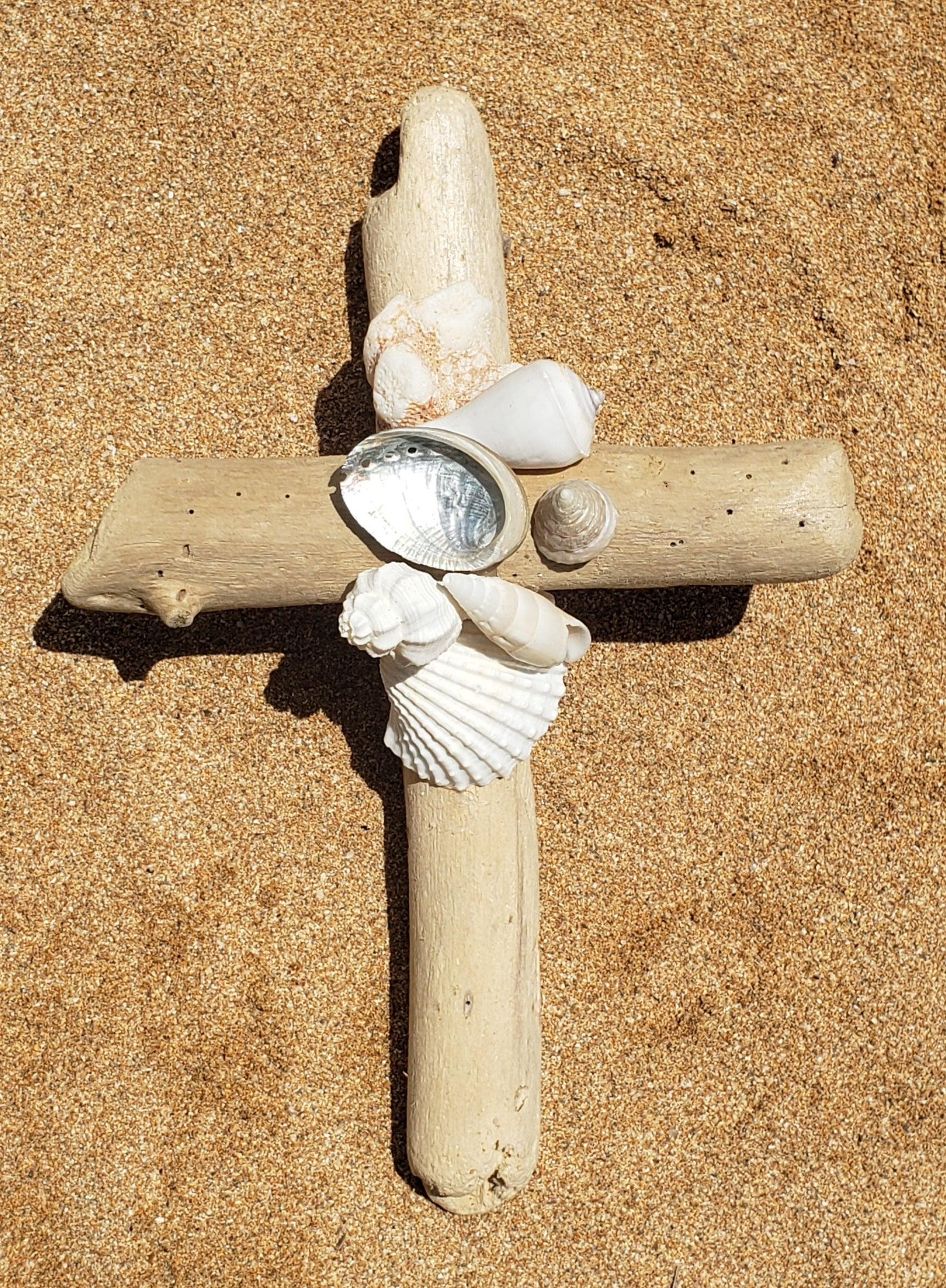 Driftwood Cross with Pearl and White Sea Shells and Coral