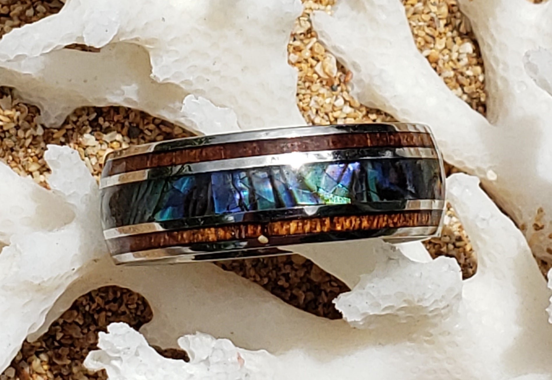 Koa Wood & Abalone Shell Stainless Steel Ring