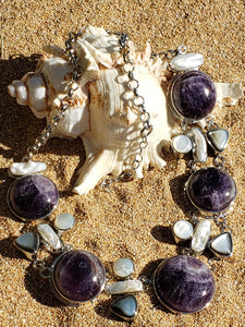 Amethyst, Fresh Water Pearl & Black and White Mother of Pearl Necklace
