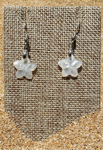 Mother of Pearl Shell Plumeria Earrings