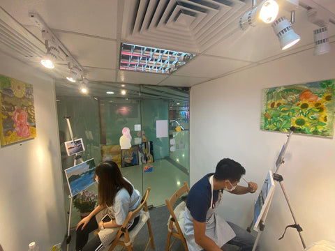 in class, adult art class, learning, oil painting