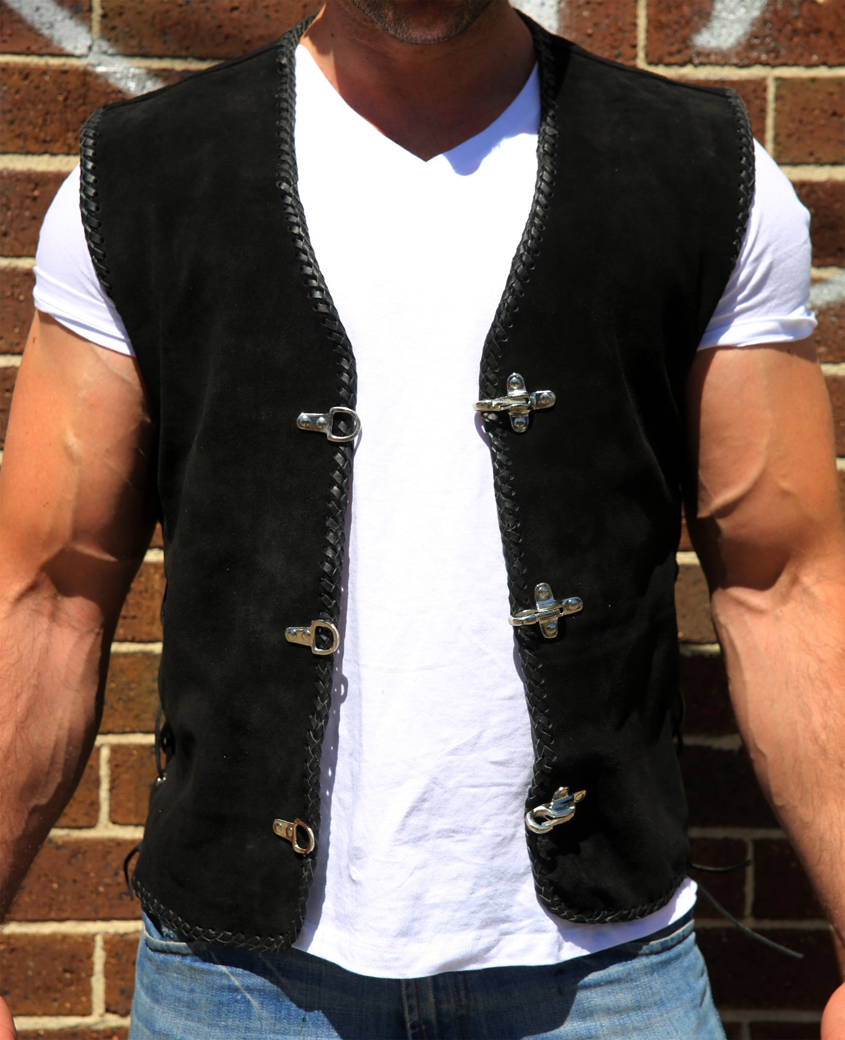 New motorcycle vest is made from heavy-duty cowhide suede leather. Suede biker vest is soft and smooth easy to be worn over a jacket. Available in Full Black .