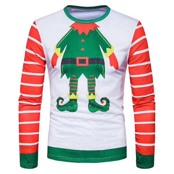Crew Neck Christmas Cartoon Figure Print Ugly T-shirt