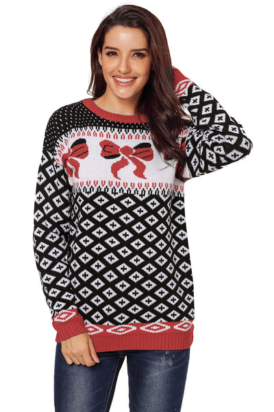 Black Ugly Bow Patterns Christmas Sweater