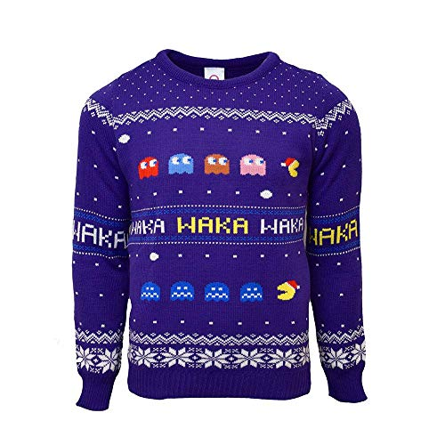 Unisex Official Pac-Man Knitted Christmas Jumper for Men or Women - Ugly Novelty Sweater Gift Blue