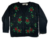 Black Red Flower Ugly Christmas Sweater