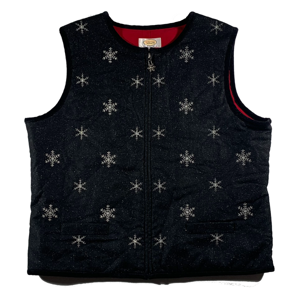 Black Snowflake Ugly Christmas Vest
