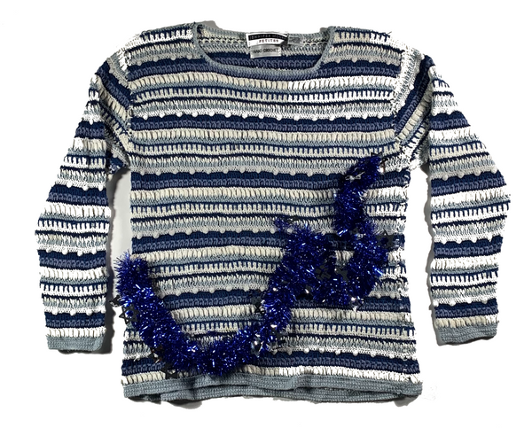 Blue Stripped Ugly Christmas Sweater