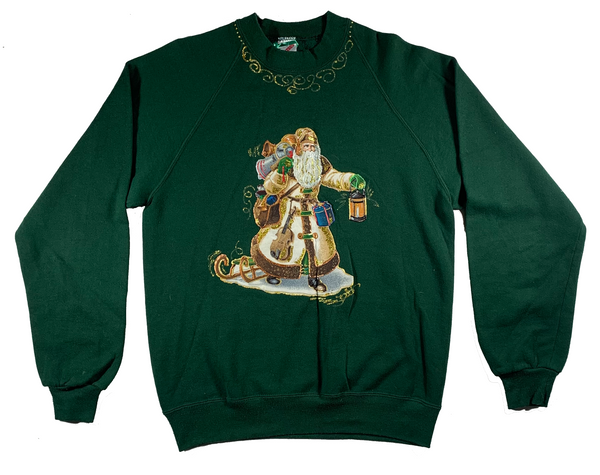 Green Santa In The Night Ugly Christmas Sweater
