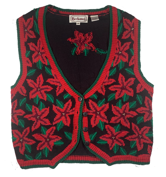 Poinsettia Ugly Christmas Vest