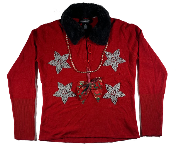 Red Star With Black Collar Ugly Christmas Sweater