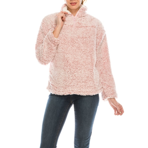 Urban Diction Pink Pull Over Sherpa Long Sleeve Winter Cozy Sweater
