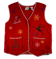 Vintage Red Snowflake Ugly Christmas Vest