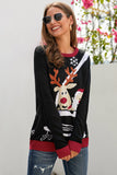 Black Reindeer Santa Clause Cartoon Print Ugly Christmas Sweater