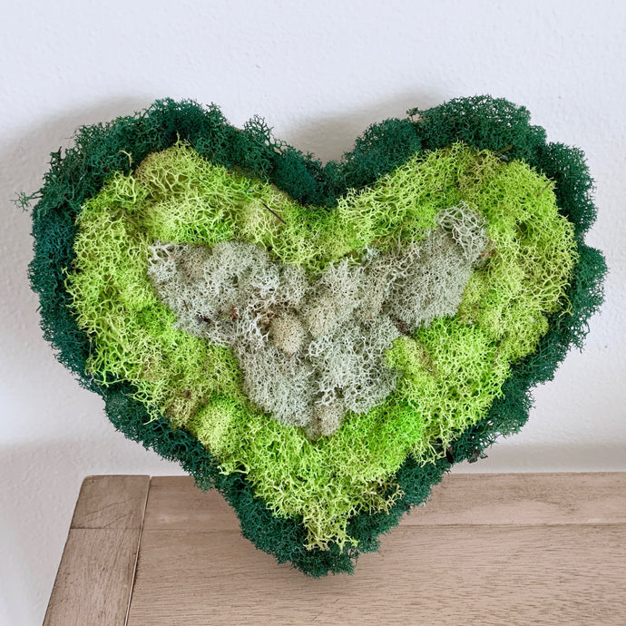 ombre heart moss wall panel