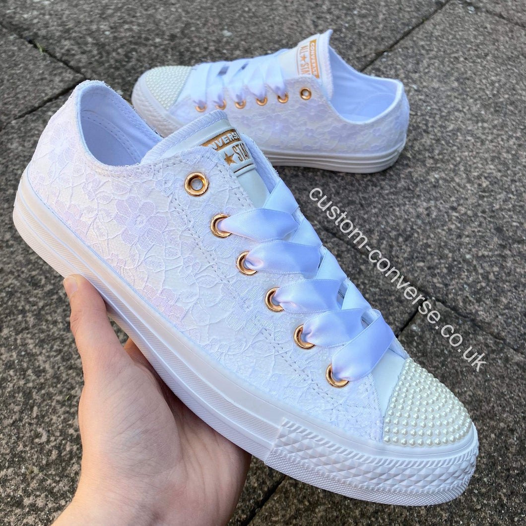 Lace Covering Leather Converse - Custom Converse Ltd.