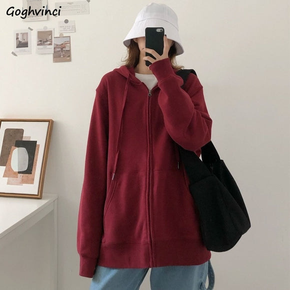 Women with Hat Hoodies Solid Sweatshirts Zip-up Female Tops Oversize Streetwear Unisex Simple Loose All-match Casual Chic Trendy