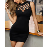 Bodycon Dress Black Dress Fashion Women O-Neck Sleeveless Hollow Out Nail Beading Bodycon Mini Dress Ladies Sexy Kleider Damen