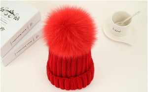 Fashion Classic Trendy Luxury Design Hat 100%Natural Fox Fur Ball Knitted Ladies Winter Hat Wool Thread Knit Warm Women Beanies