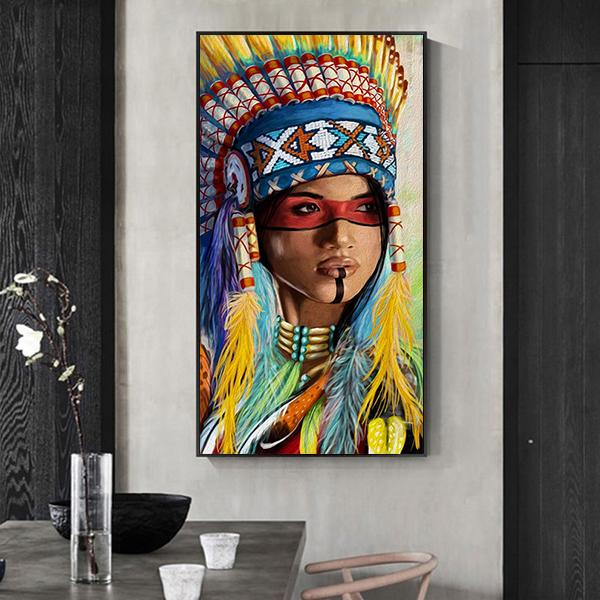 Fashion Home Wall Art Decor Canvas Picture Native American Indian Feathered Girl HD Print Poster