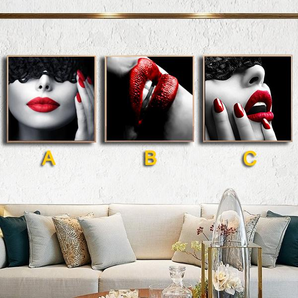 HD Art Fashion Lipstick Woman Picture Poster Wall Sticker Canvas Painting for Home Decor Wall Art