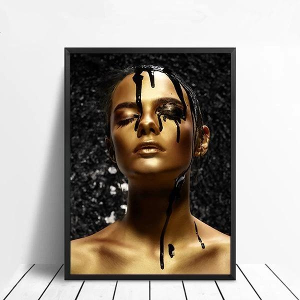 Hot Selling African Art Pictures Sexy Black and Gold Woman Print Painting On Canvas For Home Bedroom Decoration