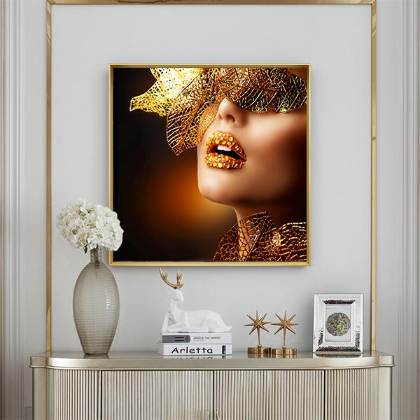 Modern Sexy Black and Gold Woman Canvas Wall Art Picture For Home Decor Living Room Art Poster
