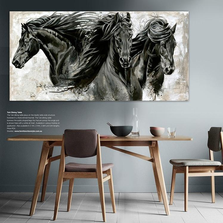 Modern animal wall art canvas art oil paintings three black horse posters for living room bedroom wall decor painting core