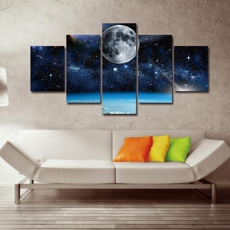 5 Pieces Frameless Wall Art painting print modern space canvas painting Moon Paintings Wall Decor for Living Room Home Office Artwork decoration Home Decoration