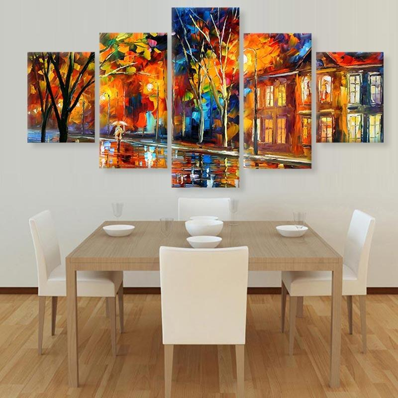 5Pcs Rain Street Tree Lamp Landscape Oil Painting On Canvas Wall Art Wall Pictures For Living Room Home Decor No Frame