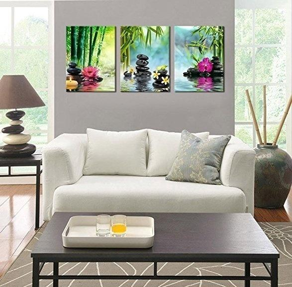 Canvas Painting Print 3 Panels Spa Series Of Stone Flowers Green Bamboo Wall Art Picture Wall Decorations Home Decor Paintings for Living Room Home Office Artwork NO Frame