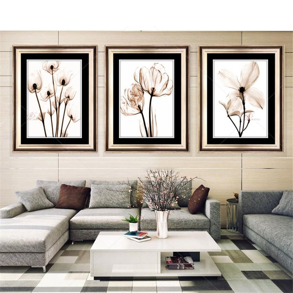 3Pcs Frameless Flower Wall Art Oil Painting On Canvas Home Decoration Simple Canvas Print Posters Modular Wall Pictures for Living Room Decal
