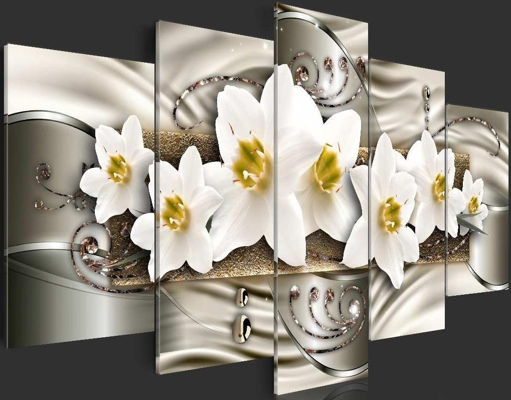 Unframed 5 Pcs/set Canvas Print Beautiful Yellow Orchid Flowers Floral Wall Art Picture Living Room Decoration Gifts for Love