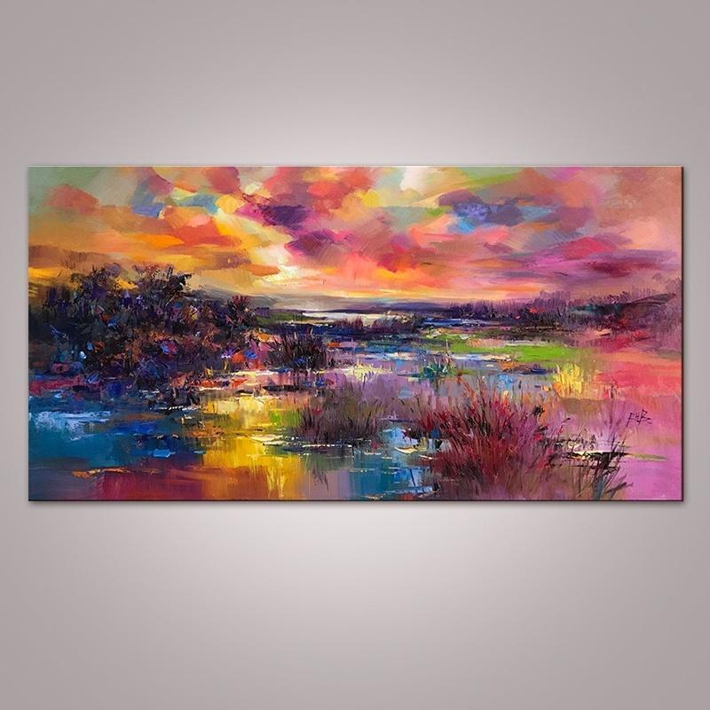 Canvas  Abstract Nature River Wall Painted Painting Art Home Decoration