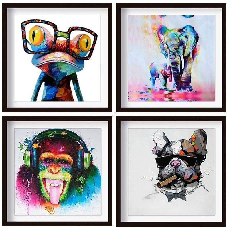 Four Species of Animal Elephant Frog Gorilla Dog Canvas Painting Animals Lover Wall Art Oil Painting on Canvas Printed Painting Pictures Decor Paintings