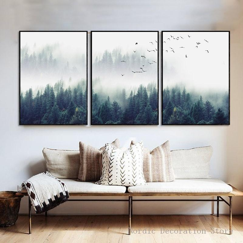 Hot Sale Nordic Forest Poster Wall Art Prints Sky Bird Wall Art Canvas Painting Posters And Prints Wall Pictures For Living Room--Unframed
