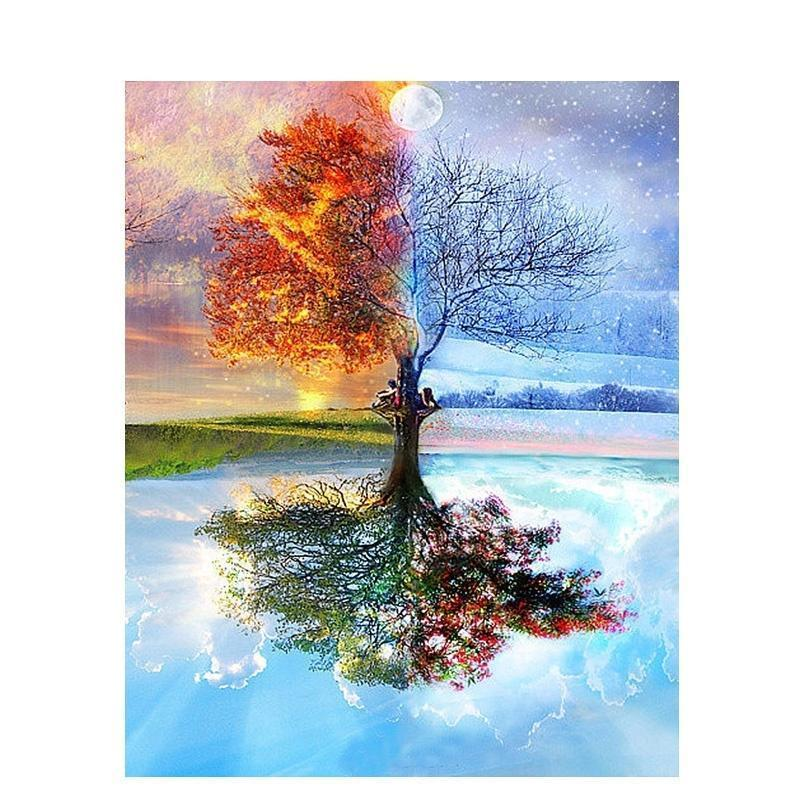 Frameless Four Seasons Tree Landscape DIY Painting By Numbers Kit Paint On Canvas Painting Calligraphy For Home Decor