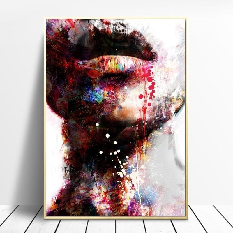 Graffiti Face Canvas Painting Colorful Wall Art Picture Artwork Poster Home Decor
