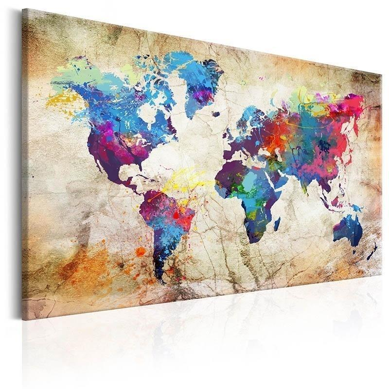 Unframed 1 Panel Large HD Printed Canvas Print Painting World Map Home Decoration Wall Pictures for Living Room Wall Art on Canvas