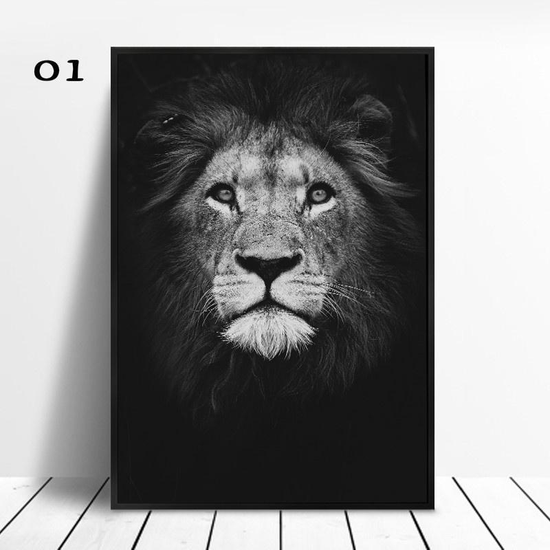 1pcs Animal Canvas Painting Lion Elephant Deer Zebra Posters and Prints Wall Pictures for Living Room Decoration Home Decor  No Frame