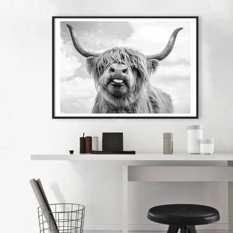 1Pcs Nordic Canvas Painting No Frame Yak Poster Black White Cow Picture Wall Art Posters Home Decor
