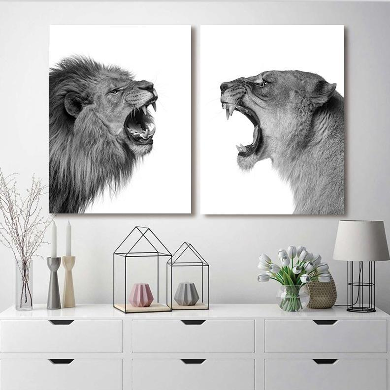 2 Pieces Lion and Lioness Canvas Painting Wall Art Animal Home Decor Pictures No Frame