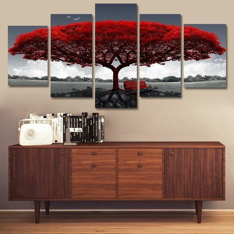 Red Tree Wall Decor Painting - 5 Pieces